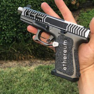 ETH Ethereum Glock G19 with custom Cerakote, laser engraving, stippling. Best Custom Gun Shop.