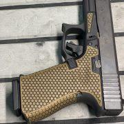 Glock 19 - G19 with cerakote, laser engraving, stippling. best custom gun shop.